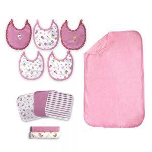 Combo baby shower rosa. Cambiador, baberos, toallitas