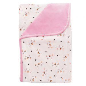Cobija frazada doble faz para bebé, garritas rosa,75x100cm