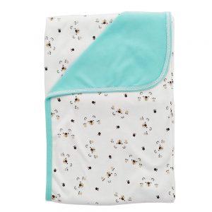 Cobija frazada doble faz para bebé, garritas verde, 75×100