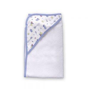 Toalla para bebé con capota, Azul, 90 cm x 60 cm.