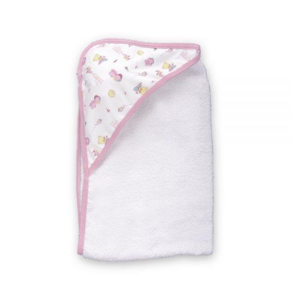 Toalla con Capota para bebé, rosa, 90 cm x 60 cm.
