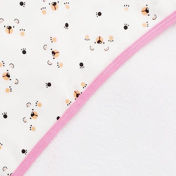 Toalla con capota para bebé,  90 cm x 60, garritas rosa
