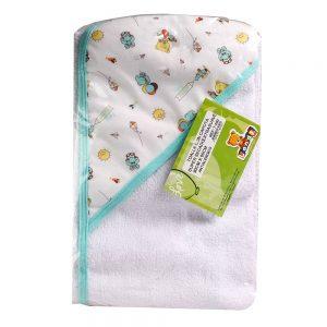 Toalla para bebé con Capota, verde, 90 cm x 60 cm.