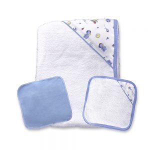 Set de toallita y Babitas para bebé, Azul, 90 cm x 60 cm.