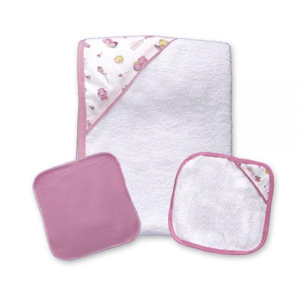 Set de toalla y babitas para bebé, color rosa, 90 cm x 60 cm