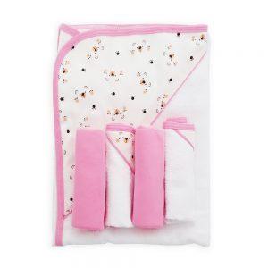 Set de toalla y babitas para bebé, color rosa, 90 cm x 60 cm.
