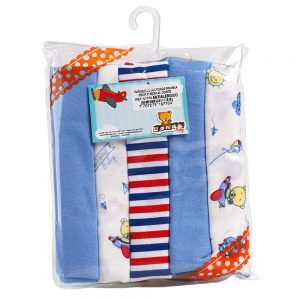 Set de pañuelitos para bebé X5, azul, 20 cm x 20 cm