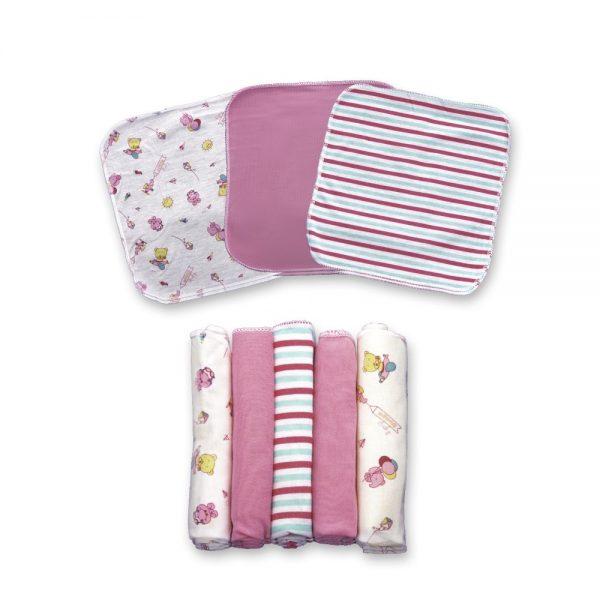 Set X5 pañuelitos multiusos para bebé, rosado, 20 cm x 20 cm