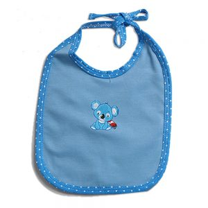 Babero azul para bebé en tela con aplique