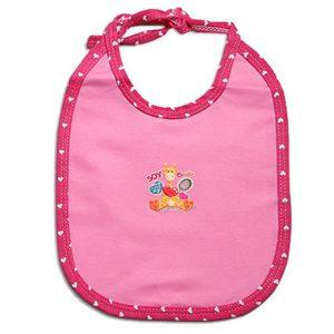 Babero rosa para bebé en tela con aplique