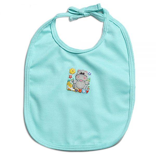 Babero verde para bebé en tela con aplique