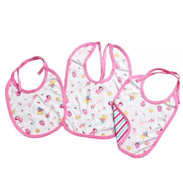 Trio de Baberos para bebé en color rosa