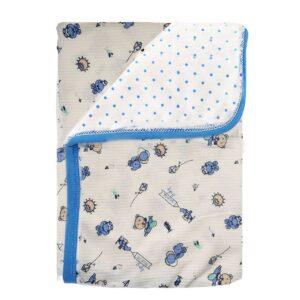 Cobija frazada doble faz para bebé, ositos azul, 75x100cm