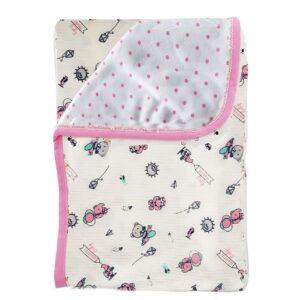 Cobija frazada doble faz para bebé, ositos rosa, 75x100cm