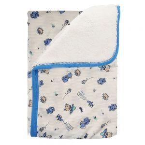 Cobija frazada ovejero doble faz, ositos azul, 75×100 cm