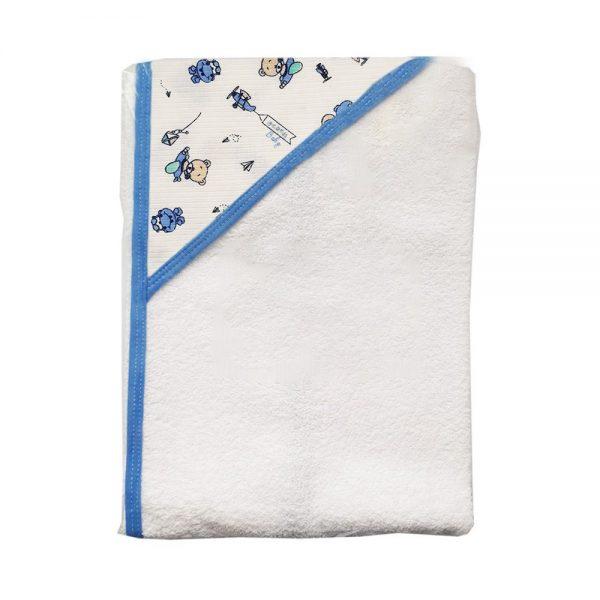 Toalla con capota para bebé en color azul. Ositos