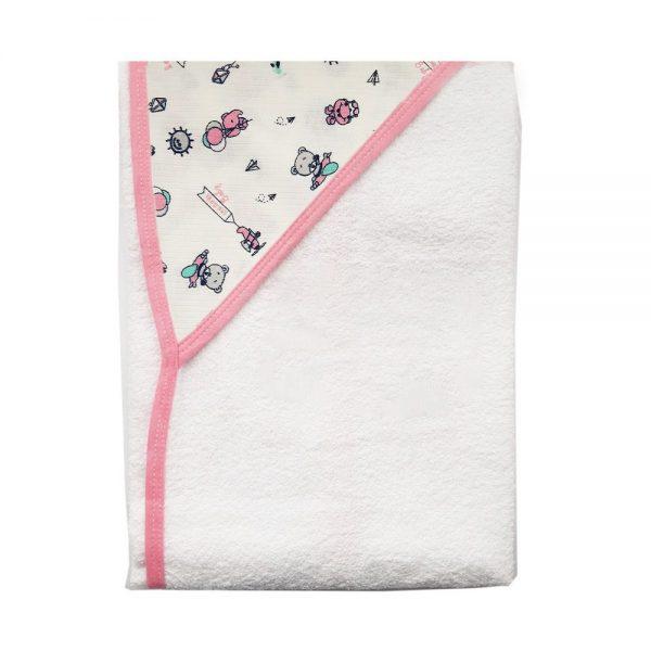 Toalla con capota para bebé, 90 cm x 60 cm, ositos rosada