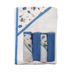 Set de toalla y babitas para bebé, azul, 90 cm x 60 cm.