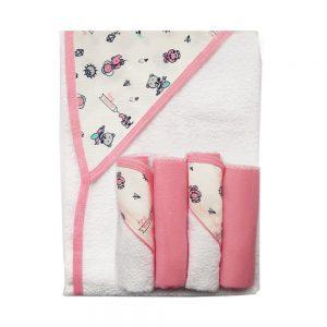 Set de toalla y babitas para bebé, ositos rosada, 90 cm x 60