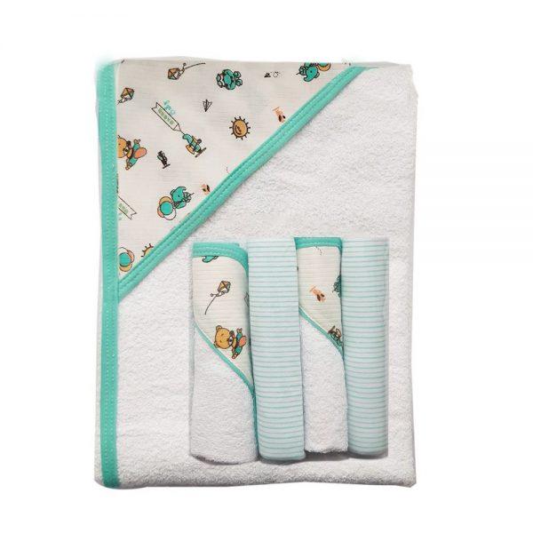Set de toalla y cuatro babitas para bebé, verde , 90x60cm
