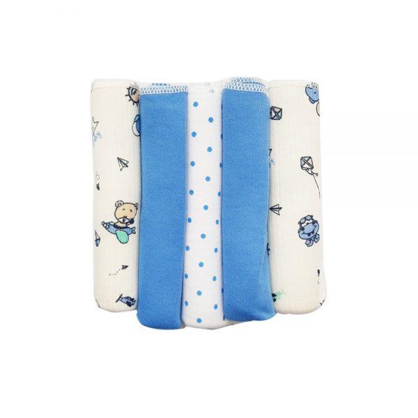 Set X5 pañuelitos azul, multiusos,  20×20 cm
