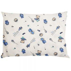 Almohada cojín estampada ositos, azul, 20×35 cm