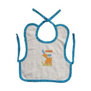 Babero delantal en toalla con estampado para tu bebé, color azul.