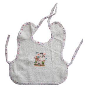 Babero delantal en toalla con estampado para tu bebé, color violeta.