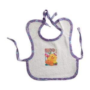 Babero delantal en toalla con estampado para tu bebé, color blanco.