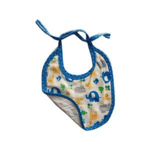 Babero estampado elefantes y flores para tu bebé, color azul.