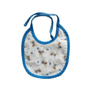 Babero teddy baby para tu bebé, color azul.