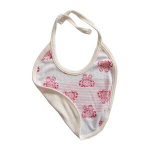 Babero elefantes rayas para tu bebé, color rosa.