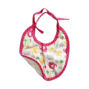Babero Lunita elefantes y flores para tu bebé, color rosa.