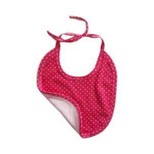 Babero estampado puntos y rayas para tu bebé, color rosa.