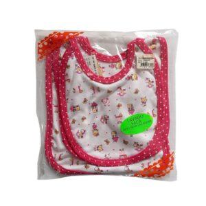 Trio de baberos casita para bebé, color rosa