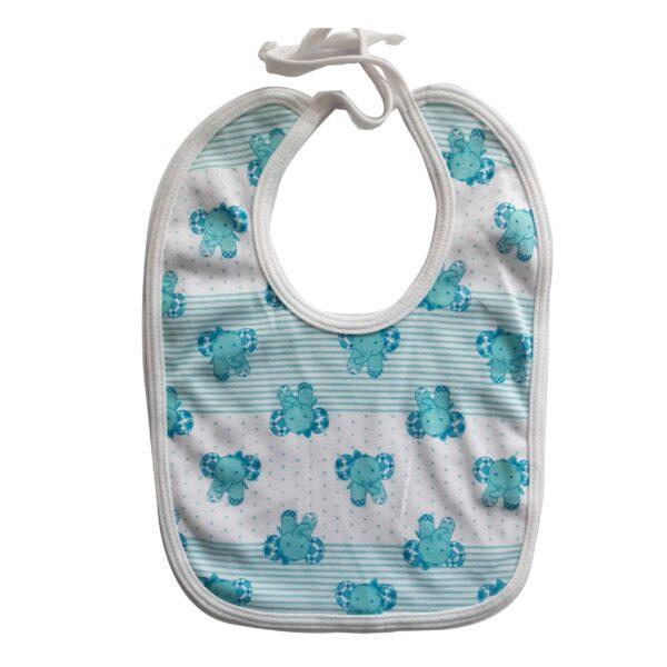 Babero estampado elefantes para tu tu bebé, color azul.
