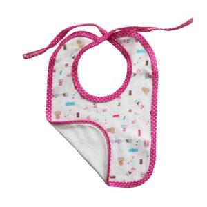 Babero cubos y osos para tu bebé, color rosa.