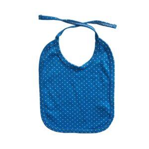 Babero puntos para tu bebé, color azul.